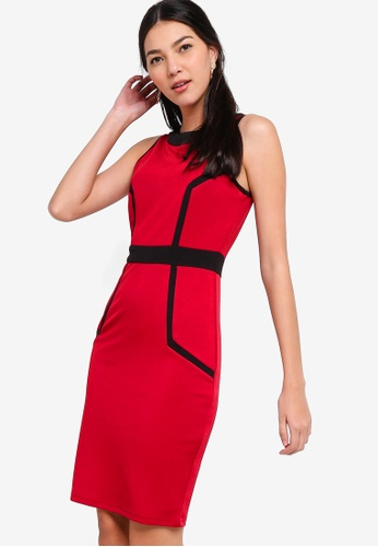 ZALORA red and multi Colourblock Bodycon Dress 052D5AAF8E2E9BGS_1