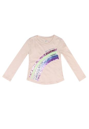 GAP pink Long Sleeve Graphic Tee 584CCKA4A6E38CGS_1