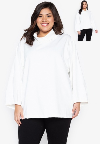 Kris Curve white Plus Size Karlie Wide High Neck Collar Cocoon Sleeves 3588CAA0C9D6FFGS_1