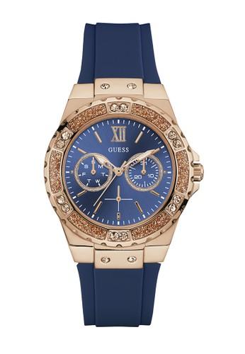 Guess Watch blue Guess Jam Tangan Wanita - Blue Rosegold - Rubber - W1053L1 B45CFACAD494E1GS_1