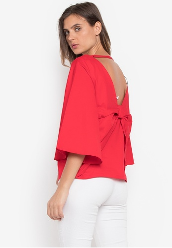CANVAS red Sabrina V-back with Draped Exaggerated Bow 8C9C0AA38B40BBGS_1