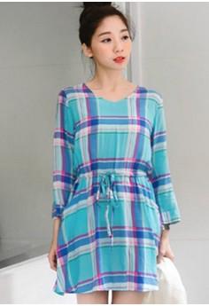Brightly Plaid Colorful Dress - Blue