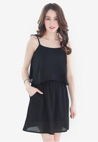 Yoco black Layered Tulle Cami Dress 36198AA02BF0C4GS_1