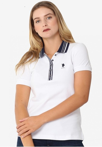 U.S. Polo Assn. white and green and blue Ladies Basic Classic Fit Sportshirt F2958AA9A8D5A9GS_1