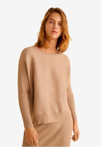Mango brown Ribbed Knit Sweater 96D93AADA46E7DGS_1