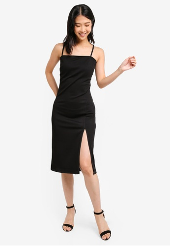 ZALORA BASICS black Basic Jersey Strappy Midi Dress With High Slit 7B96AAA72EC08CGS_1
