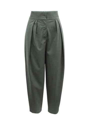 Donna Karan 灰色 donna karan 深灰色羊毛褶皺辦公室褲 AFC9DAACFB4D65GS_1