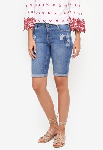 Dorothy Perkins blue Midwash Blossom Embroidered Knee Shorts 14154AA63D87F9GS_1