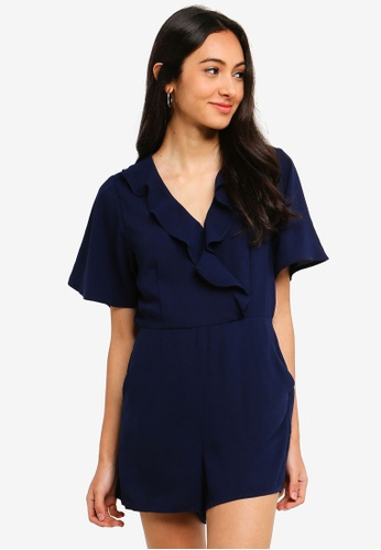 Cotton On blue Woven Kennedy Frill Playsuit E685FAA2C6EF24GS_1