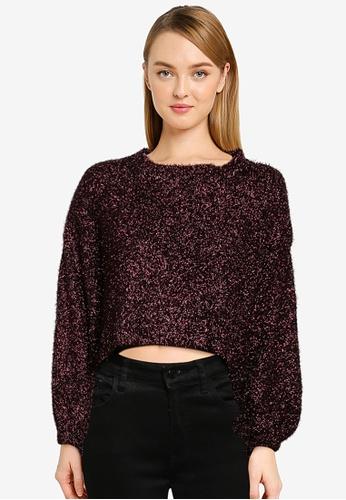 Mango purple Textured Lurex Cropped Sweater E241FAAE18CA49GS_1
