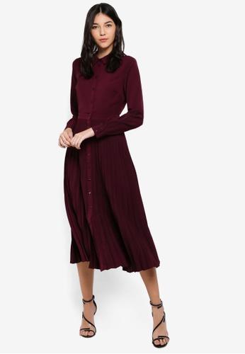 a7d7107a76c06 Buy WAREHOUSE Pleated Midi Shirt Dress Online on ZALORA Singapore