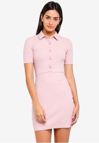 ZALORA pink Buttoned Down Dress C50A4AA51468ACGS_1