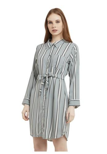 Evernoon grey Mini Dress Chic With Belt Lengan Panjang Garis Dual Tone Color Baju Wanita - Grey 49488AA3C505B5GS_1