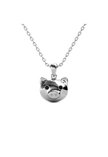 Her Jewellery silver Piggy Pendant (Black Diamond)-  Made with premium grade crystals from Austria B489DACE5CE211GS_1