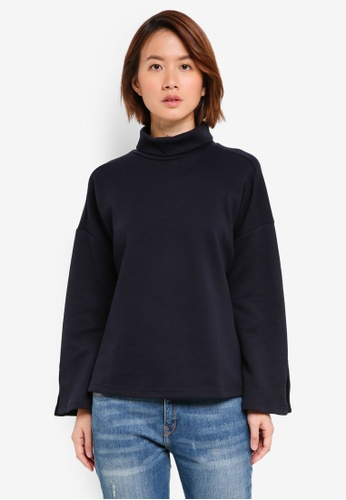 UniqTee navy Mock Neck Dropped Shoulder Top 4785CAA40926A4GS_1