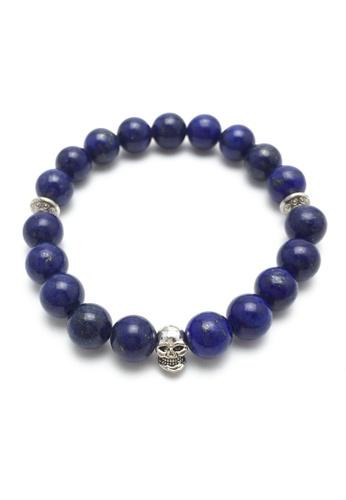Memento Collection blue Skull Detailed Lapis Lazuli Bracelet ME060AC99UFGMY_1