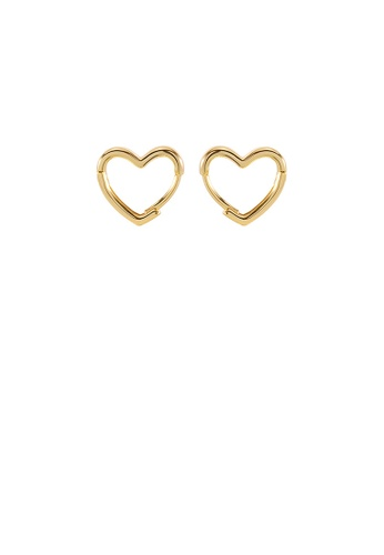Glamorousky silver 925 Sterling Silver Plated Gold Simple and Fashion Hollow Heart-shaped Stud Earrings 1DC0FACEAAFC4BGS_1