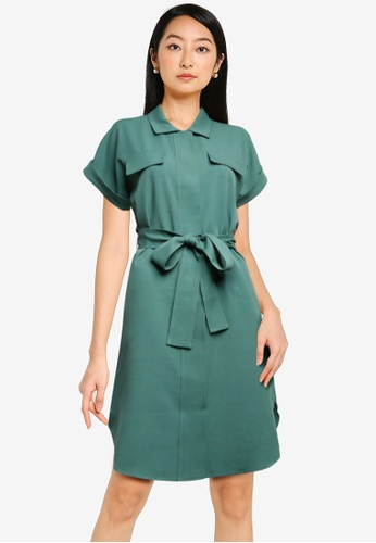 ZALORA BASICS green Utility Dress with Self Tie 8FAE6AADEA2DD4GS_1