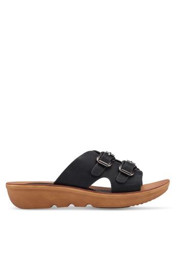 Noveni 黑色 Double Buckle Sandals 6D80DSH6882F05GS_1