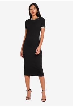 bdf45229d8d4 River Island black Leopard Print Trim Midi Dress F7D22AAEEA5BADGS_1