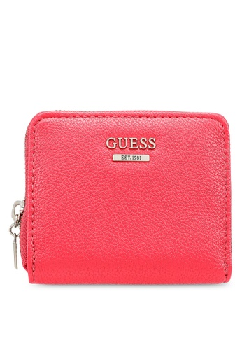 Guess pink Sandrine Sling Small Zip Around Wallet C64FBACD552C21GS_1