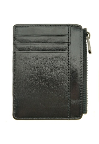 LUXORA black The Ninja Co. Top Grain Leather Card Wallet Billfold Zip Holder Gifts Purse 1D6BDAC5730200GS_1