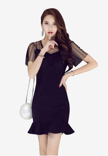 Lara 黑色 網紗短袖V領拉鍊連身裙 9A053AA6AA82F4GS_1