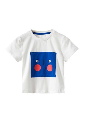 M.Latin white Graphic Print Round Neck Short Sleeve T-Shirt C71D1KAC058D7AGS_1