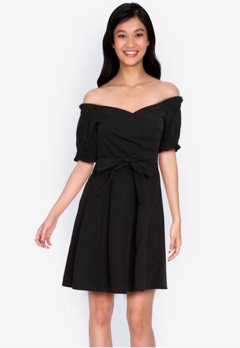 ZALORA BASICS 黑色 Off Shoulder Dress With Self Tie 8A352AA0D6B3BBGS_1