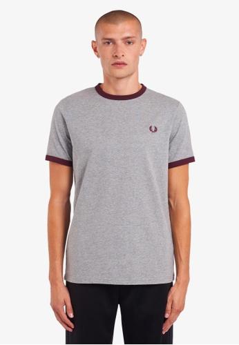 Fred Perry grey M3519 - Ringer T-Shirt - (Steel Marl) FFC46AADF5B91DGS_1