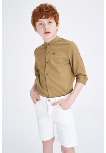 DeFacto brown Boy Woven Long Sleeve Shirt EB10DKAF9D18C0GS_1