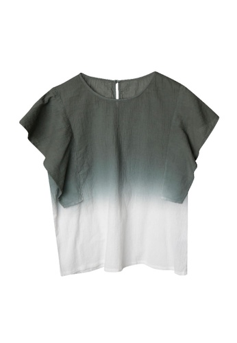 Giordano Ladies green Handkerchief Sleeve Dip-Dye Wrinkle Blouse 36559AA1908C83GS_1