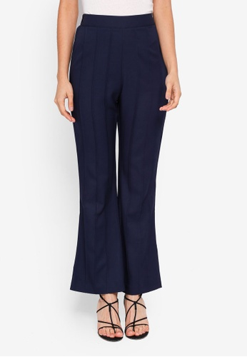 Zalia blue Pleated Crop Flare Pants E7651AA5B604FAGS_1