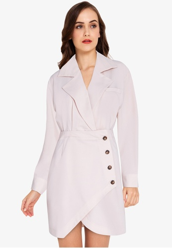 ZALORA WORK beige Asymmetric Blazer Dress 1A309AAD2DE623GS_1