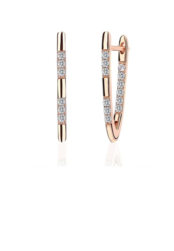 Glamorousky white Simple Fashion Letters Rose Gold Plated V Earrings with Cubic Zircon 26EE9ACD8997B5GS_1
