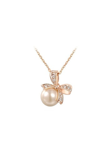 Kings Collection gold Bow Pearl Necklace D279FAC267242DGS_1