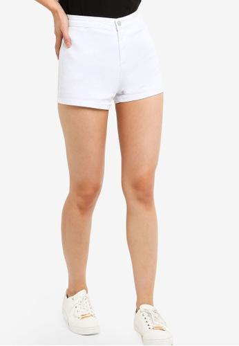 ZALORA BASICS white Basic Denim Stretch Shorts 0BCF8AA2E608BBGS_1