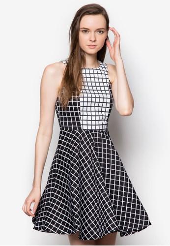 Pozalora 衣服評價rcelain 撞色格紋露背洋裝, 服飾, 洋裝