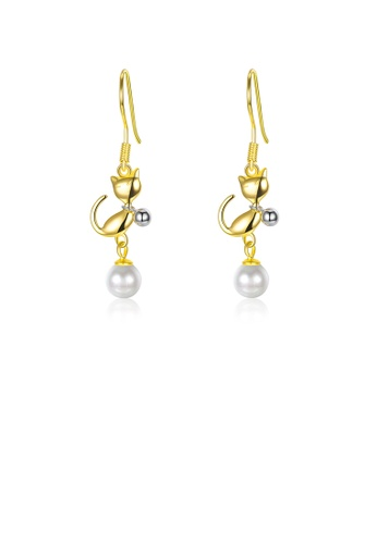 Glamorousky white 925 Sterling Silve Gold Plated Elegant Fashion Cute Cat Pearl Earrings E4113AC590106AGS_1