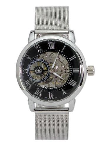 Chronomart silver Men's Dress Skeleton Dial Automatic Mechanical Stainless Steel Mesh Chain Strap Wrist Watch ORK-0358 31EFAAC46ECAA8GS_1
