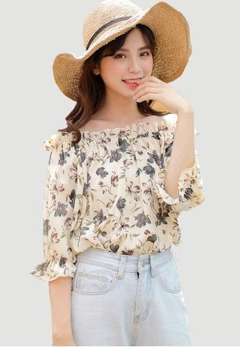 Shopsfashion yellow Off Shoulder Floral Printed Blouse SH656AA0F9R9SG_1