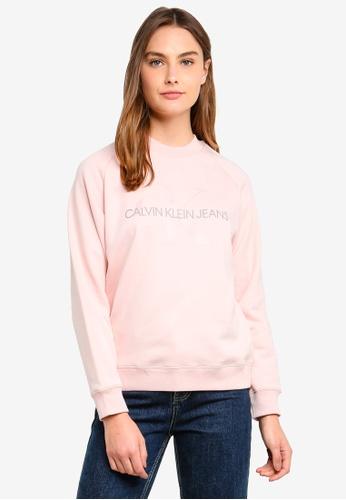 Calvin Klein pink Satin Mono Relax Crew Neck Sweatshirt 1338AAAC008341GS_1