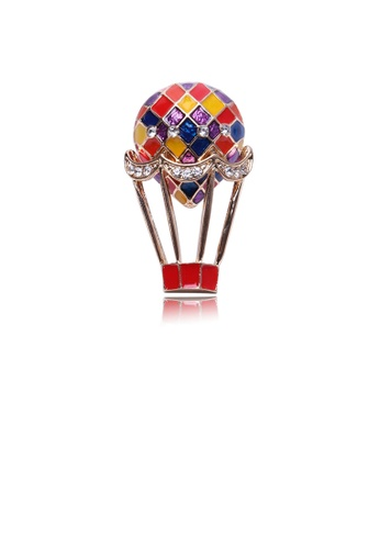Glamorousky white Fashion Personality Plated Gold Hot Air Balloon Brooch with Cubic Zirconia 1AAD2AC8B9334FGS_1