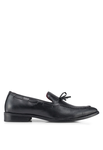 Acuto black Leather Loafers AC9BCSH0A1568DGS_1