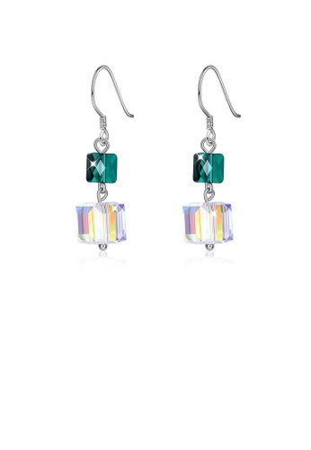 Glamorousky green 925 Sterling Silver Fashion Individual Square Earrings with Austrian Element Crystal F4FD1AC3E88861GS_1