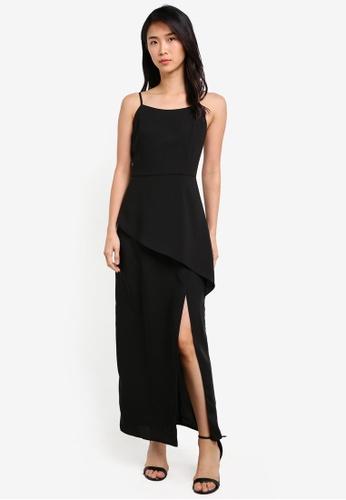 Preen & Proper black Spaghetti Strap Maxi Dress PR614AA0S9V5MY_1