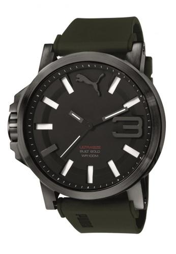 Puma black Puma Ultrasize 50 Black Silicon Rubber Watch PU440AC73CWCSG_1