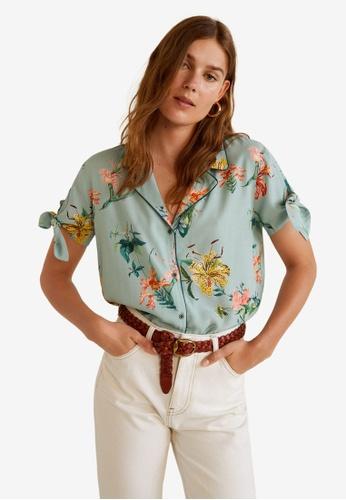 Mango green Knot Printed Shirt BC9DFAAD48CCE0GS_1