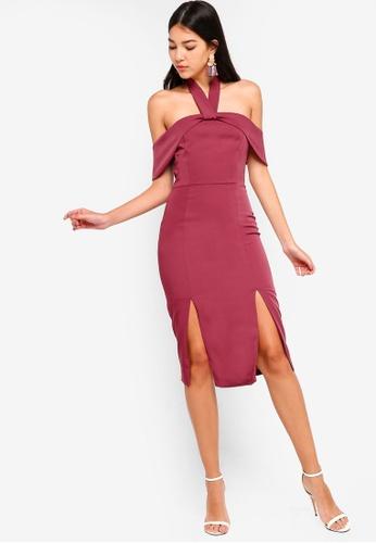 Lavish Alice red Halterneck Bardot Midi Dress With Double Split  D9DD3AAACFED03GS 1 1b2e83855367