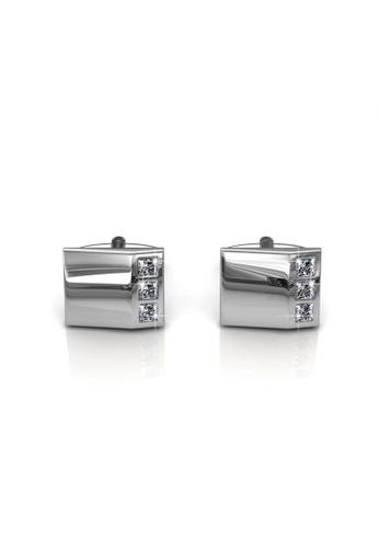 Her Jewellery silver Swarovski® Crystals -Mr Glossy 2 Cufflinks (18K White Gold Plated) Her Jewellery HE581AC0RBI4MY_1